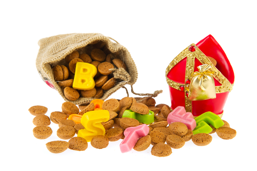 Dutch Sinterklaas candy with mitre and pepernoten