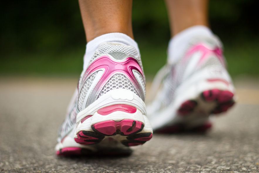 Running shoes close-up. Female runner.