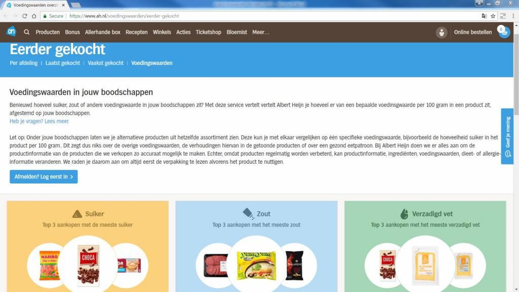 Albert Heijn Lanceert Mijn Voedingswaarden Op Ahnl Gezondheid Plus